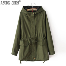 Buy AZURE SHEN 2018 New Pattern Sprng Autumn Hooded Collar Navy Blue Green Loose Zipper Big Size Lady Coat Fashion Tide K86917M for $34.00 in AliExpress store