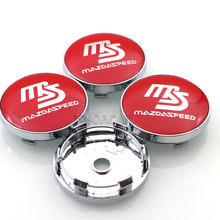 4pcs/set Red Black 60mm MS MAZDASPEED logo Auto Car Wheel Center Hub Cap Badge Emblem Covers For Mazda Accessories Styling(China)