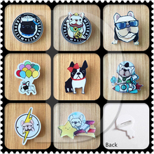 1 PCS Cartoon French Bulldog Acrylic Pins Icons Badges on Backpack Stripe Decoration Brooch Animals Badge for Clothes