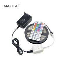 1Pcs 24 / 44 Keys Controller / 12V 3A Adapter / 5M / Roll 5050 SMD RGB LED Strip light Ribbon For DIY Indoor Decoration lighting(China)