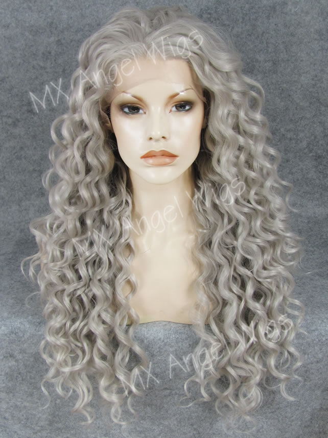 K18 Fashion 26inch Long Curly Silver Grey Color Synthetic Lace Front Wigs Heat Resistant Heavy Density kanekalon Fiber Lady Wigs<br><br>Aliexpress
