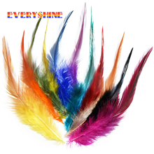 Hot sale Colorful 24pcs/lot 4-6'' Dyed Rooster Saddle Cape Craft Feather Wedding Decorations Hair Extensions IF7(China)