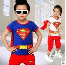 Retail!3-7years,children suit clothes,baby girls boy summer cartoon pure cotton Superman cape Spider man short sleeved pant suit(China)