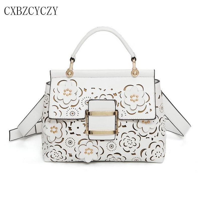 2017 Brand Famous PU Leather Handbag Tote Bag Flowers Hollow Women Luxury Handbags Bags Designer Crossbody Bags For Women Bolsos<br>