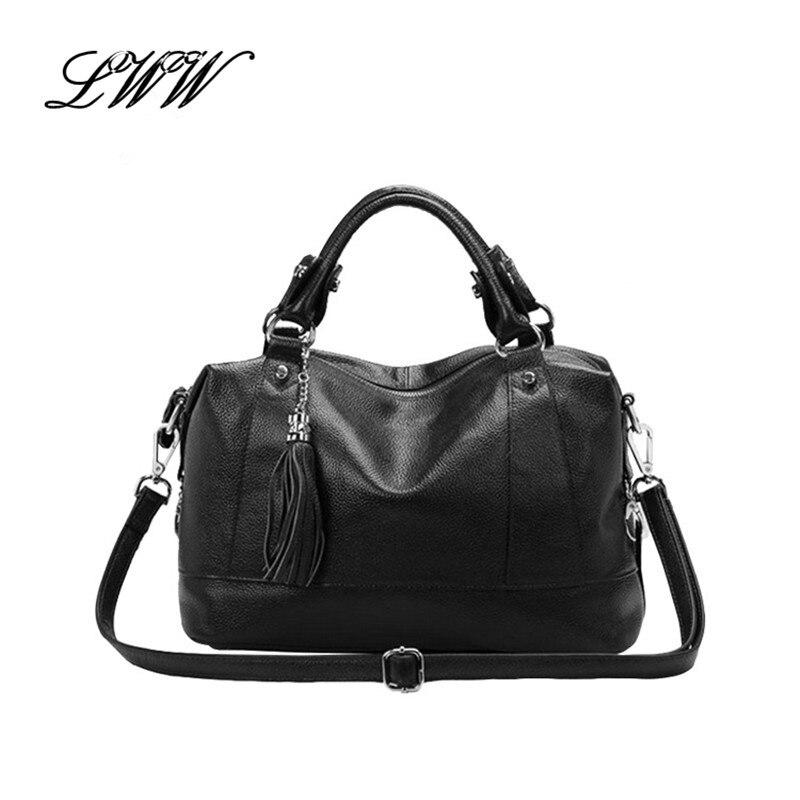 Fashion Pillow Ladies Fringe Shoulder Bags Handbags Women Famous Brands Boston Genuine Leather Female Crossbody Bag with Tassel<br><br>Aliexpress