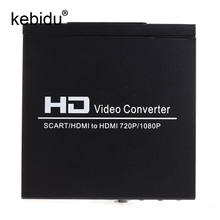 Kebidu EU plug SCART To HDMI Video Converter Splitter HDTV Audio Projector for HDTV DVD with EU plug Power Supply Adapter