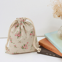 Pink Multiflora Rose Cotton Linen Small Storage Bag for Perfume / Middle Large Vintage Storage Bags for Sundries Free Shipping