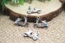 15pcs--Scooter Charms Antique Tibetan Silver Tone Motorbike Vespa Moped Motorcycle pendants charms 19x15mm(China)