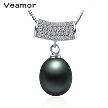 Veamor 925 Silver Chain Tassel Pendant Necklace Women Office Lady Black Pearl freshwater Pearls Jewelry Bijoux Gifts 5 Types
