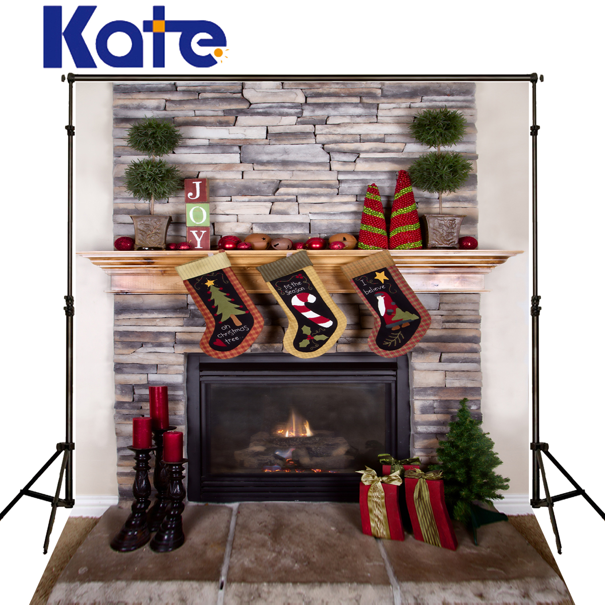 Kate Christmas Photography Background Sock Fireplance Stove Backdrop  Candle Brick Wall Backgrounds For Photo Shoot<br>