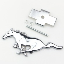 3D Metal Chrome Silver Running Horse Front Head Hood Grille Emblem Badge For Ford Mustang Shelby GT