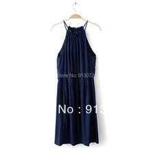 Women sexy summer sling strap Dress vestido de festa sleeveless halter dress solid color office wear mini dress QZ184