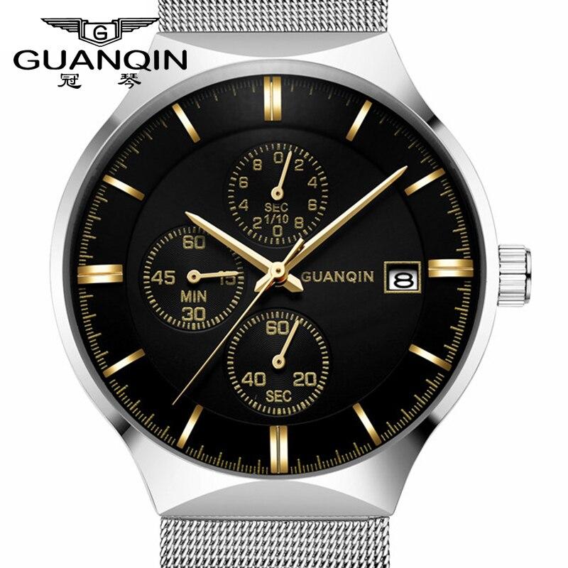GUANQIN Luxury Brand Men Watch Relogio Masculino Quartz wristwatches Thin Men Waterproof Wristwatch Male Sport Business Watches<br>