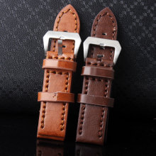 Fashion Durable High Quality 24mm Soft Sweatband Black Brown Genuine Leather Strap Pin Buckle Wrist Watch Bands