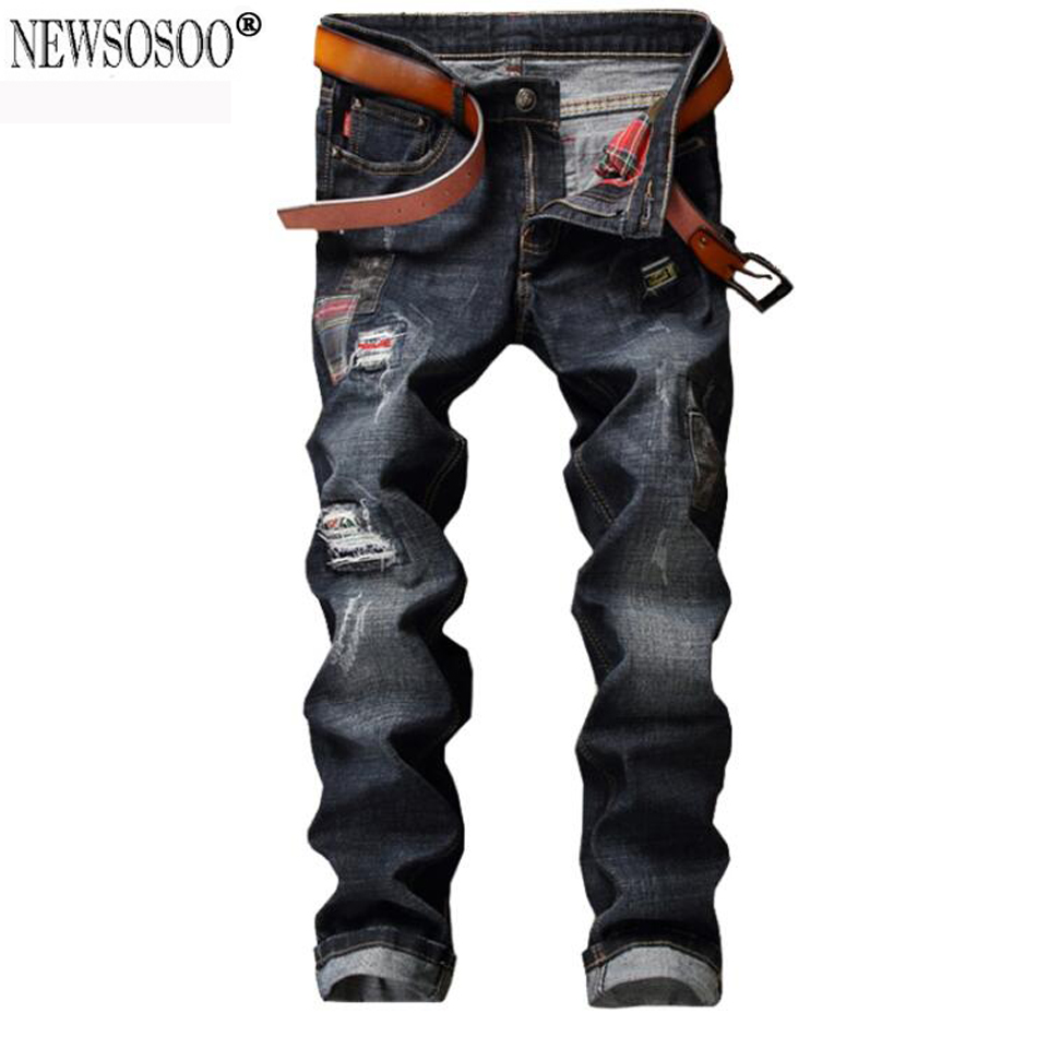 Newsosoo 2017 fashion Mens casual hole patch ripped jeans for men Slim straight black denim pants jeans hommes MJ66Îäåæäà è àêñåññóàðû<br><br>