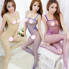 Buy Leechee ST130 Women sexy lingerie Fishnet Bodystocking open crotch Body Suit eight solid color erotic underwear porn costumes