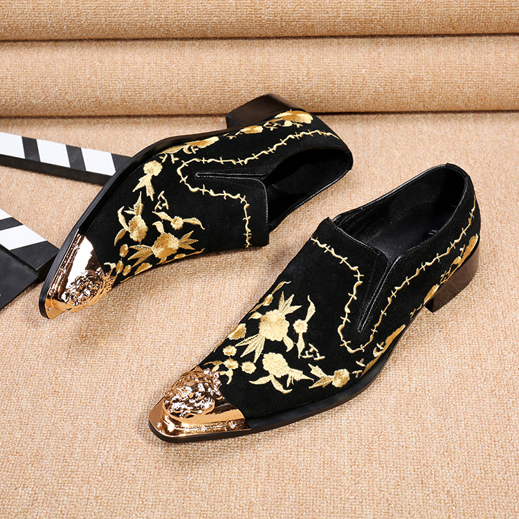 2017 New Style Hot Men Velvet Shoes Fashion Men Loafers Luxury Embroidery suede Slippers Mens Flats Dress Shoes Plus Size 46<br><br>Aliexpress