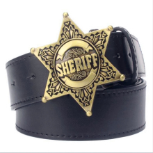 Fashion Men's belt metal buckle belts Sheriff badge Retro Hexagon star sign western style cowboy Pu leather belt