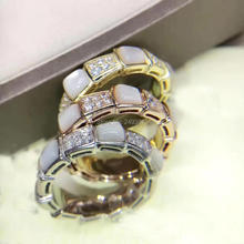 High quality Italian New Fashion 925 sterling silver AAA cubic zirconia black/white natural stone Snake rings for women party(China)