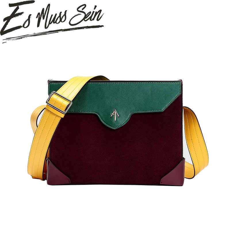 3188715a3b EsMussSein Real Leather Wide Strap Messenger Bag Women Fashion Shopping Shoulder  Bag Color Piece Envelope Small