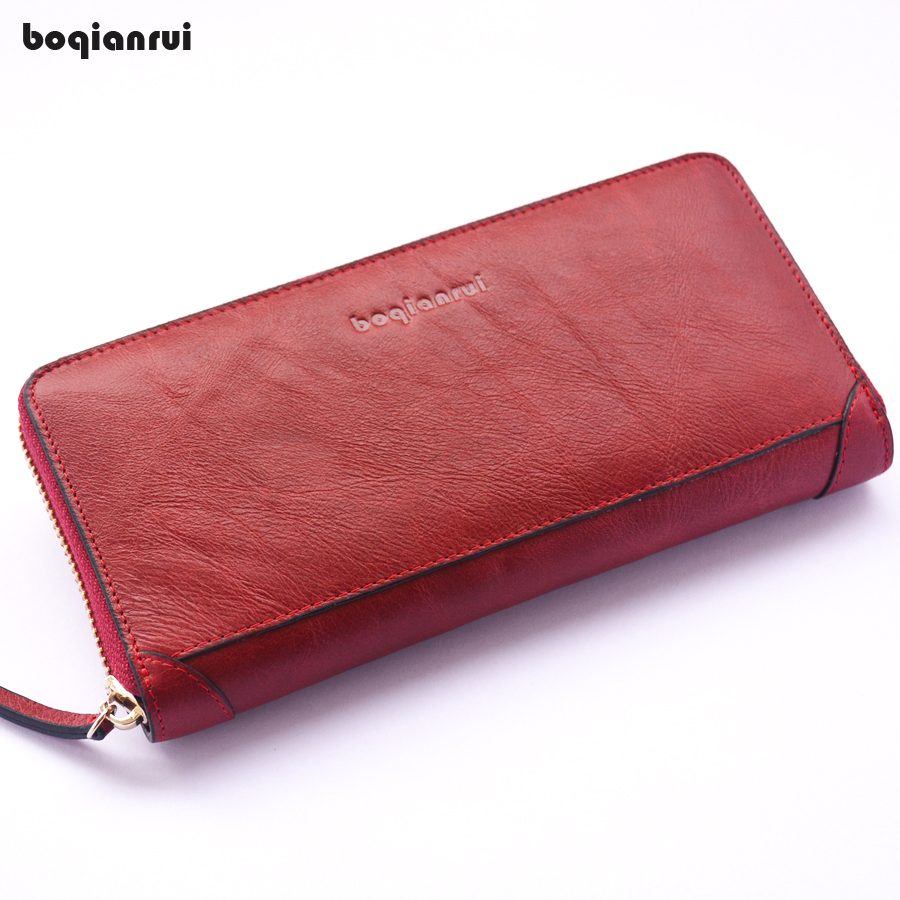 BOQIANRUI Genuine Leather Wallet Long Zipper Wallet Unisex Cow Leather Purse Clutch Wallet Solid Fashion Women Coin Wallets