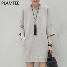 PLAMTEE 2017 Knitted Maternity Sweater Autumn And Winter New Loose Fake Two Pieces Pregnancy Pullover Clothes For Pregnant Women(China)
