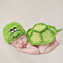 Fashion Europe Children Clothing Studio Turtle Modeling Baby Hand Knitting Clothes Newborns Photography Props 38cm (0-6 months)(China)