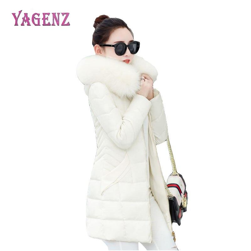2018 Winter Womens Cotton Jacket Long Section Thicken Keep Warm Ms Down Jacket High Quality Hooded Fur Collar Coat Plus SizeÎäåæäà è àêñåññóàðû<br><br>