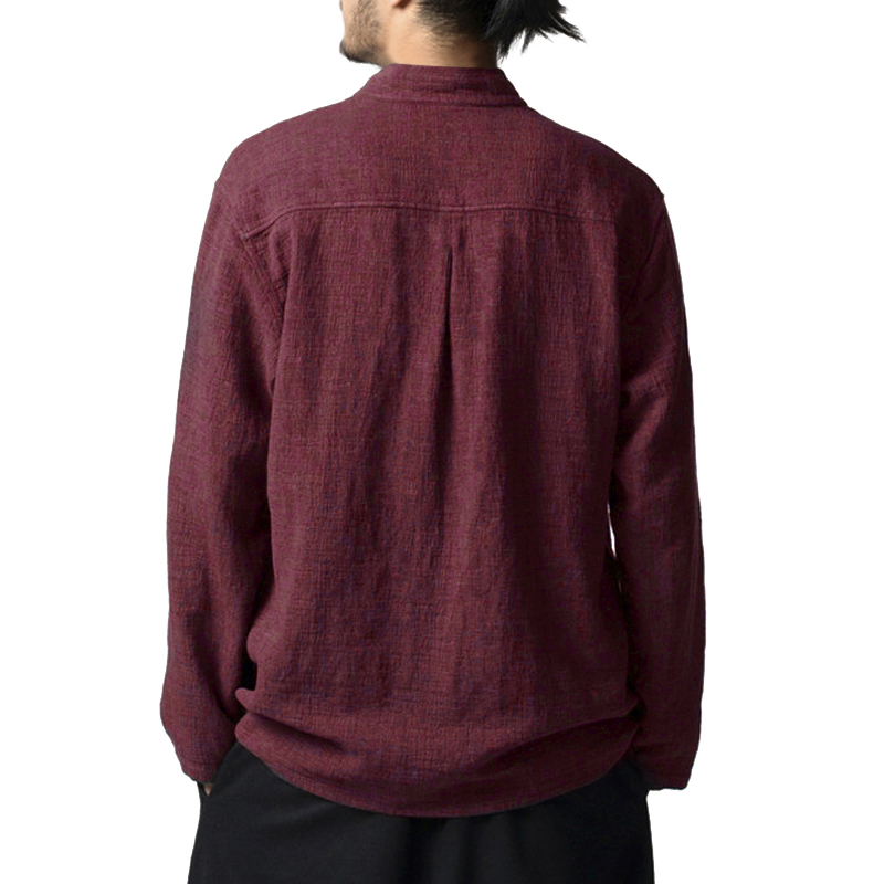 S-3XL Casual Man Cotton Single Breasted Shirts Long Sleeve Solid Stand Collar Plus Size Fit Long Chinese Style Top Shirt Autumn