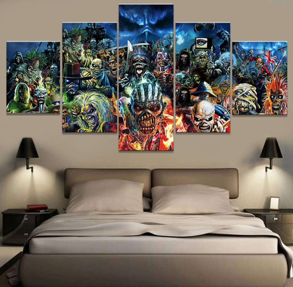 5 Piece Print Poster Iron Maiden Band Paintings on Canvas Wall Art for Home Decorations Wall Decor Unique Gift Wall Picture(China)