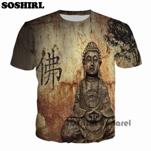 SOSHIRL Buddha Full Print T Shirt Novelty Short Sleeve Tee Tops Man Punk Outfit Masculine Streetwear T-Shirt Man Casual T Shirts