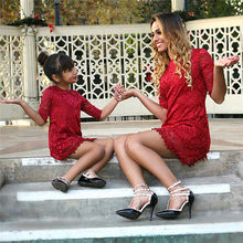 mom and daughter dress kids parent child outfits 2017 Mommy and me family matching mother daughter dresses clothes(China)
