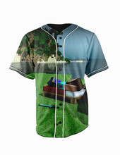 Real American Size   minecraft dreams 3D Sublimation Print Custom made Button up baseball jersey plus size
