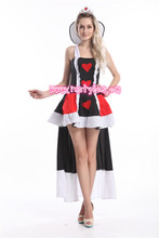 Sexy Alice in Wonderland Queen of Hearts Costume Fancy Queen Dress Women Halloween Costumes for women 3XL(China)