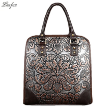 Luufan Vintage Genuine Leather Women Handbag Embossed Leather A4 female shoulder messenger bag iPAD lady work tote women bags