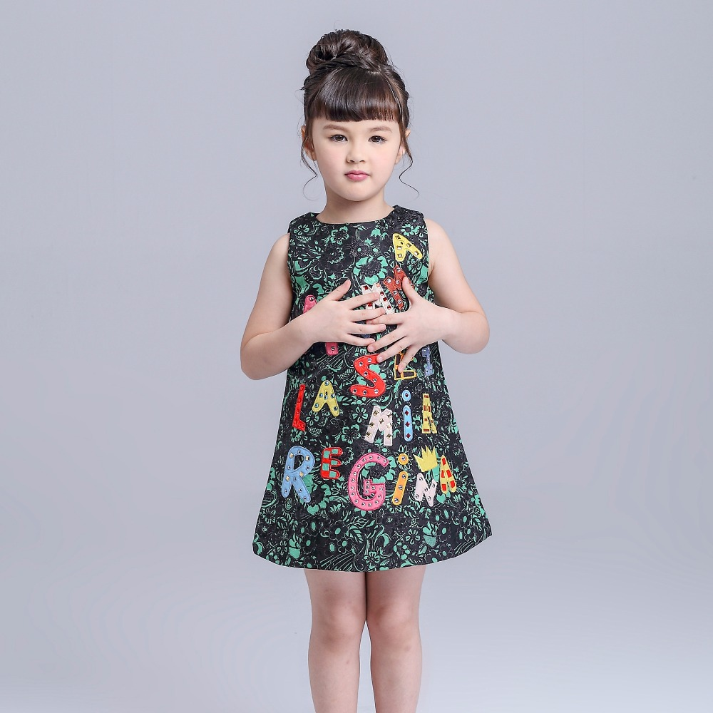 New Girls Clothing Dress Girl Sleeveless Dresses Metal Flashes Alphabet Letter Girls Dress Children Teenagers Sequined Clothes<br><br>Aliexpress