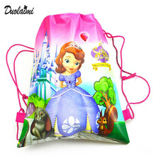 1 Pic children drawstring bags Sofia Satchel For Girls & Boys Print character school backpack nylon teenagers2016 new