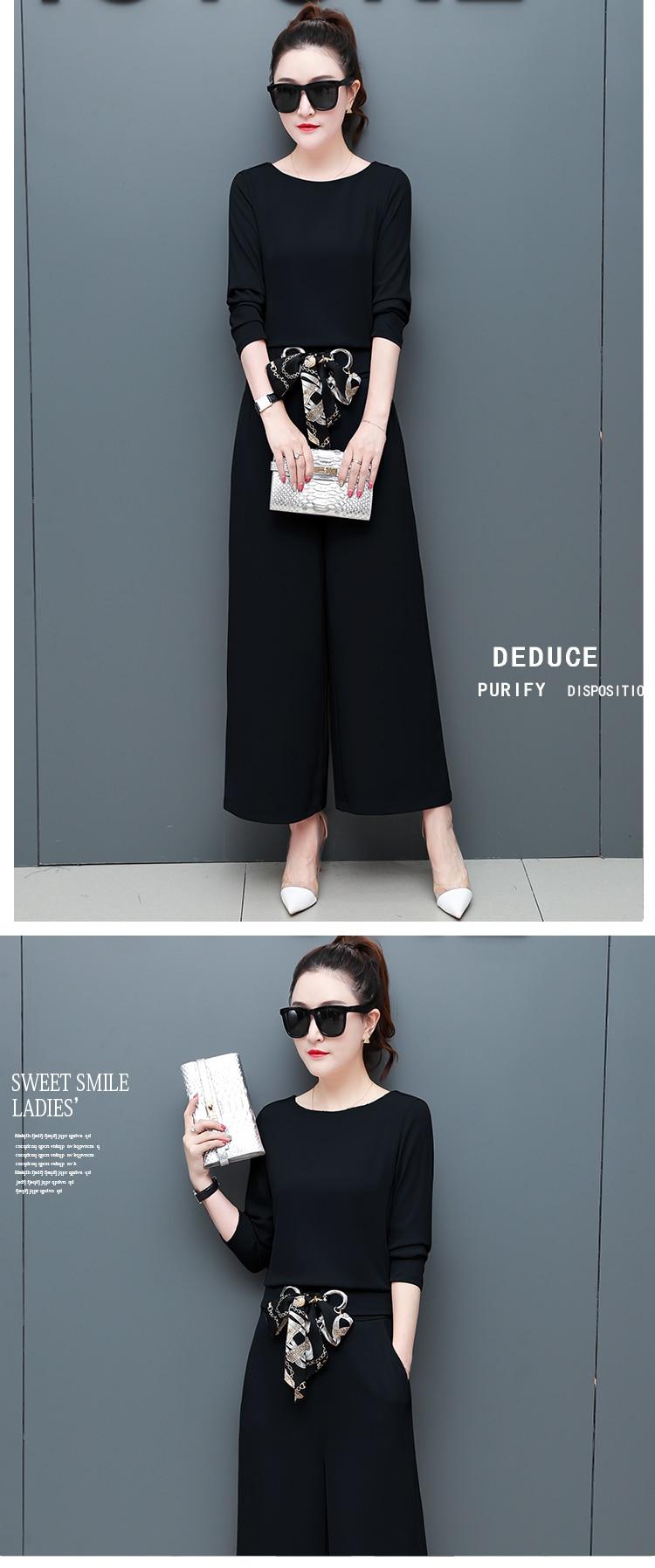 Chiffon 2 Piece Set Women Long Sleeve Tops And Wide Leg Pants Trousers Set Suits Spring Autumn Casual Office Elegant Women's Set 20 Online shopping Bangladesh
