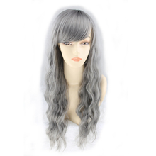 QQXCAIW Women Long Curly Cosplay Party Gray Grey 70 Cm Synthetic Hair Wigs