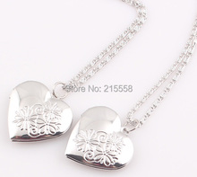 2015 Valentines Gift Rhodium Silver Heart Locket Necklace Jewelry New Romantic Fancy Heart Pendant For Women JJAL N186