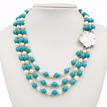 LiiJi Unique New Fashion Natural Freshwater Pearl 3 Rows 7-8mm White Pearl Blue Turquoises Necklace Shell Flower Clasp 18''/45cm(China)