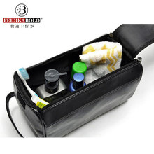 Men Wash Bag Leather Admission Package Travel Cosmetic Bags Man Waterproof Toiletry Kits Organizador Trousse De Toilette Luxury(China)