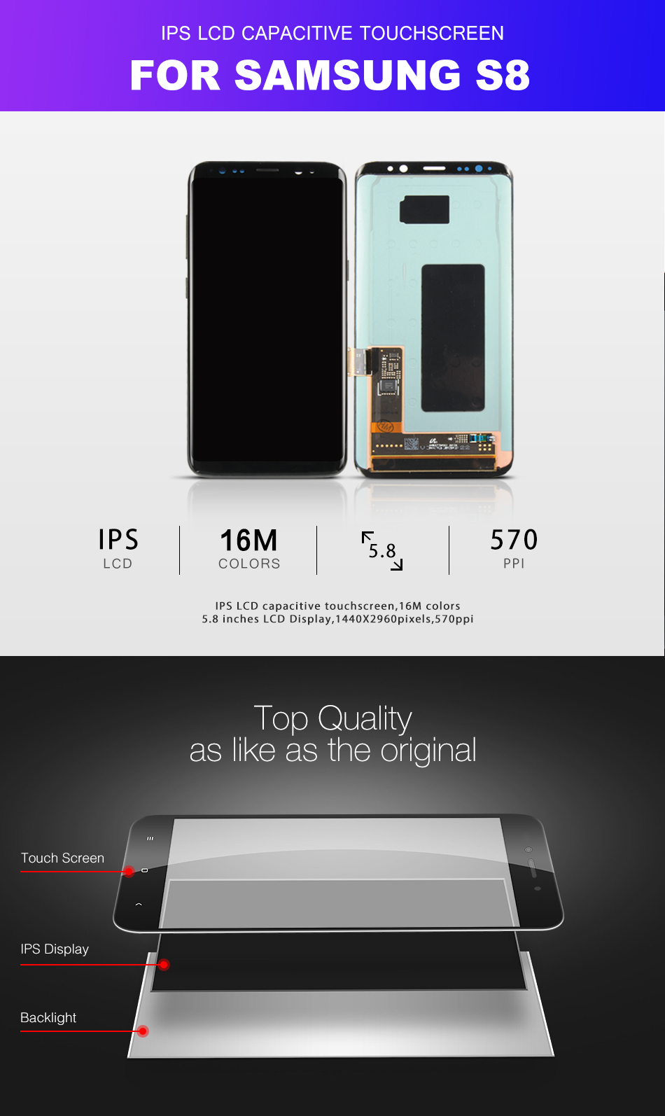Warranty AMOLED Display for SAMSUNG Galaxy S8 Screen Replacement LCD Touch Digitizer Assembly S8 Plus LCD G950 G950F G955 G955F