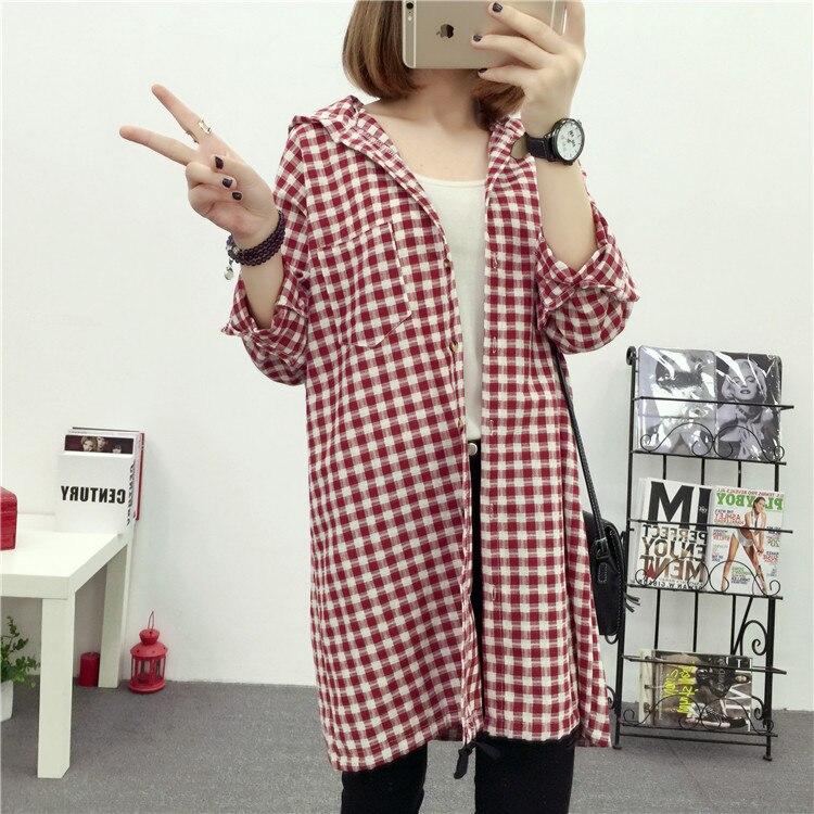 Brand Yan Qing Huan 2018 Spring Long Paragraph Large Size Plaid Shirt Fashion New Women's Casual Loose Long-sleeved Blouse Shirt 10 Online shopping Bangladesh
