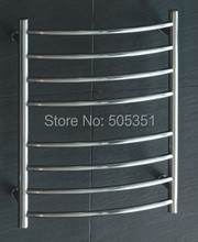 Bathroom accessory ladder style wall mounted heated towel rail with 8 round&curved bars Towel Warmer HZ-914-2(China)