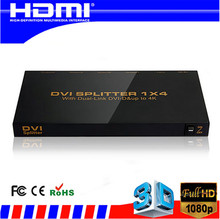 New DVI SPLITTER 1*4 with Dual link DVI-D 4K 2K 1 input 4 output Video Splitter HD 1920 x 1200 Free shipping 1 in 4 out