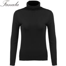 FANALA Women Turtleneck Spring Autumn Sweaters for Women Long Sleeve Basic Solid Bottoming Knitted Pullovers Plus Size
