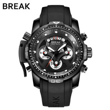 BREAK Men Top Luxury Brand Unique Casual Fashion Rubber Band Sport Wristwatches Man Quartz Chronograph Army Waterproof Watches
