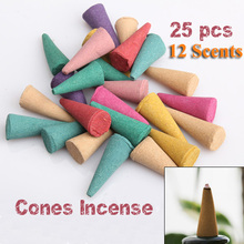 one set 25 Mix Stowage Colorful Fragrance Triple Scent Incense Cones Potpourri