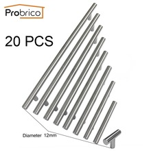 Probrico 20PCS Cabinet T Bar Handle Diameter 12mm CC 50mm~320mm Stainless Steel Furniture Drawer Knob Kitchen Cupboard Door Pull(China)